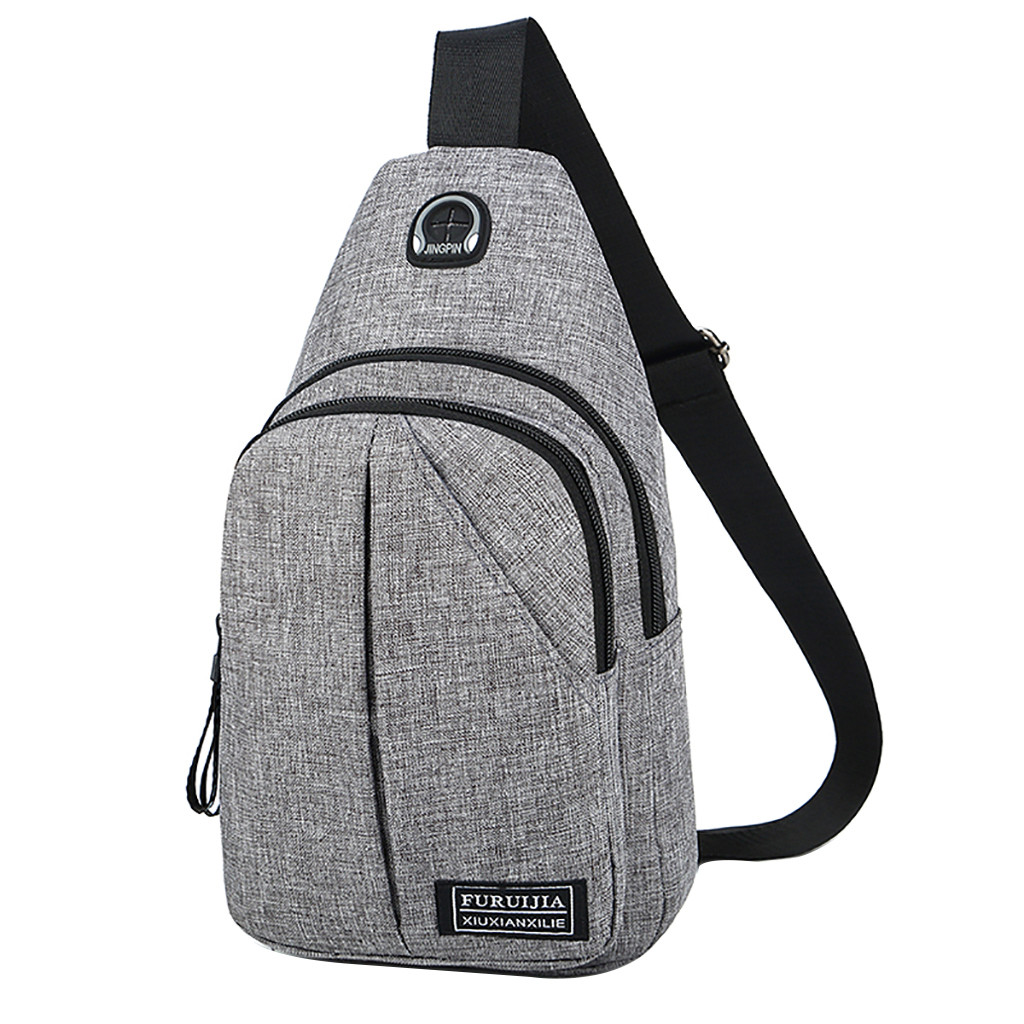 Men Oxford Cloth Chest Bag Pure Color USB Canvas Waist Bag Bolsas High Quality Casual Male Bags Fashion Casual Pockets Pp