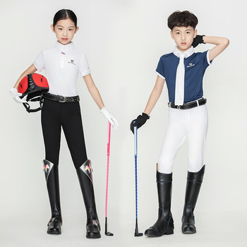 Children's equestrian trousers  breathable elastic fabric