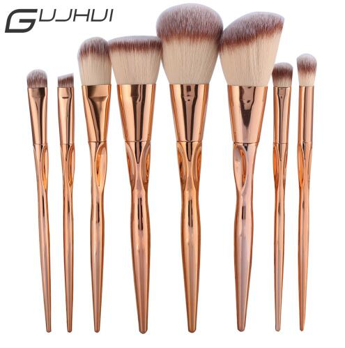 GUJHUI Pro 8pcs Metal Makeup Brushes Set Cosmetic Face Foundation Powder Eyeshadow Blush Lip Plating Make Up Brush Kit Maquiagem 8pcs beauty makeup brushes set eyeshadow blending brush powder foundation eyebrow lip cosmetic make up tools pincel maquiagem