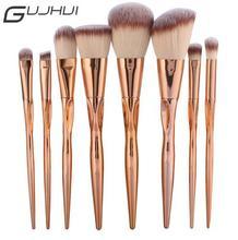 GUJHUI Pro 8pcs Metal Makeup Brushes Set Cosmetic Face Foundation Powder Eyeshadow Blush Lip Plating Make Up Brush Kit Maquiagem