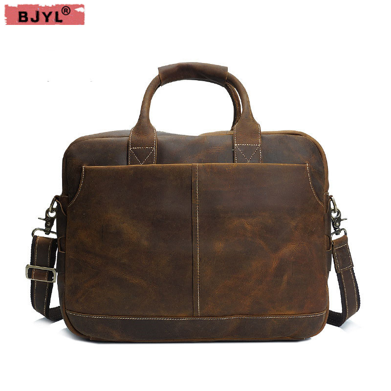 все цены на BJYL Retro crazy horse skin Men shoulder bag portable men handbag genuine leather male briefcase Messenger crossbody laptop bag онлайн