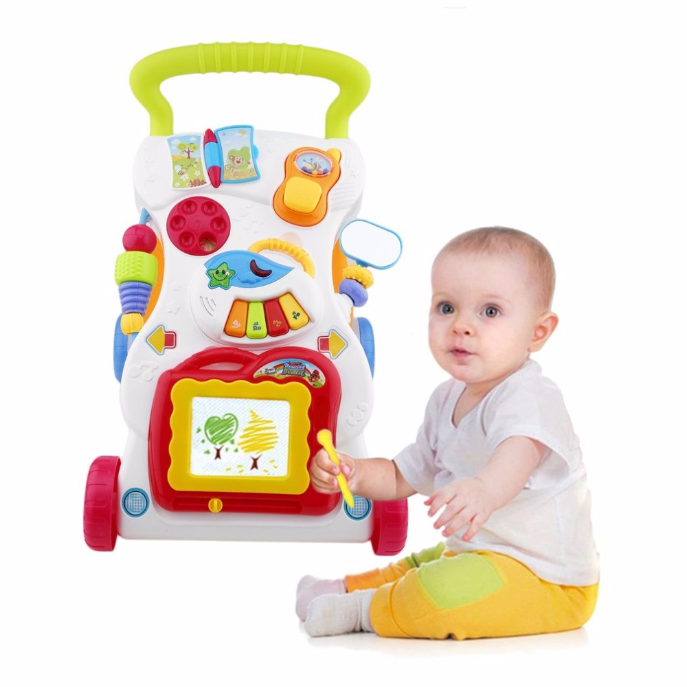 Hot Baby Walker Toddler Trolley Sit-to-Stand Walker for Kid's Early Learning Educational Musical Adjustable Baby First Steps Car musical and flashing light baby walker cheap kids walker hot sale walkers