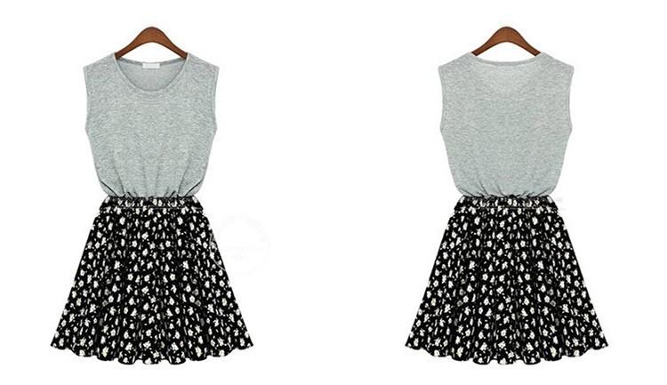большие ярдов дамы лоскутное платье без рукавов разбиты красивое платье Размер 3XL Размер 4xl 5xl замыкают