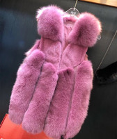 New Real Fur Vest for Women Winter Pink Fox Vest Waistcoat Luxury Natural Fox fur Gilet Warm Outwear