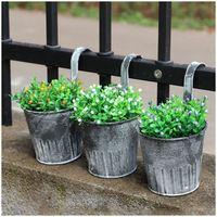 AIMA 5 Pcs Vintage Metal Hanging Planters Garden Pot Flower Container Home Basket
