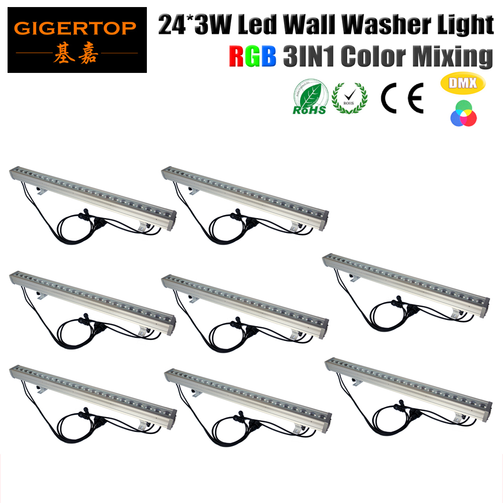 TIPTOP 8XLOT Waterproof 80W Outdoor Big Lens LED Wall Washer Light RGB 3In1 Led Garden Lighting 24*3W Flicker Free Smooth Wash