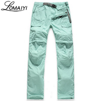 LOMAIYI 2017 Summer Removable Breathable Women Pants Travel Female Trousers Pockets Army Green Bottom Women's Casual Pants,AW031