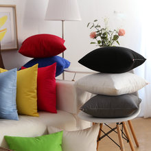 Canvas Pillow Covers Jelly Color Pink Red Yellow Orange Blue Gray Green Solid Cushion Cover Home Decorative 45x45cm/60x60cm(China)