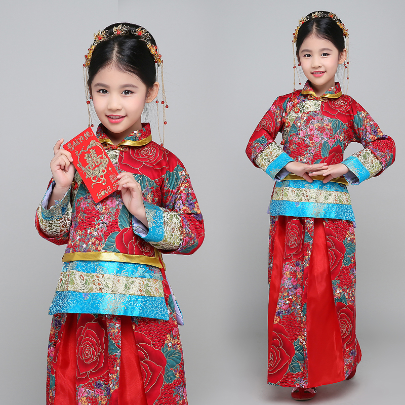 Child Chinese Traditional Costume Girl Ancient Chinese Wedding Dress for Kids Qipao Party Clothing National Folk Dance Costume 9 girl
