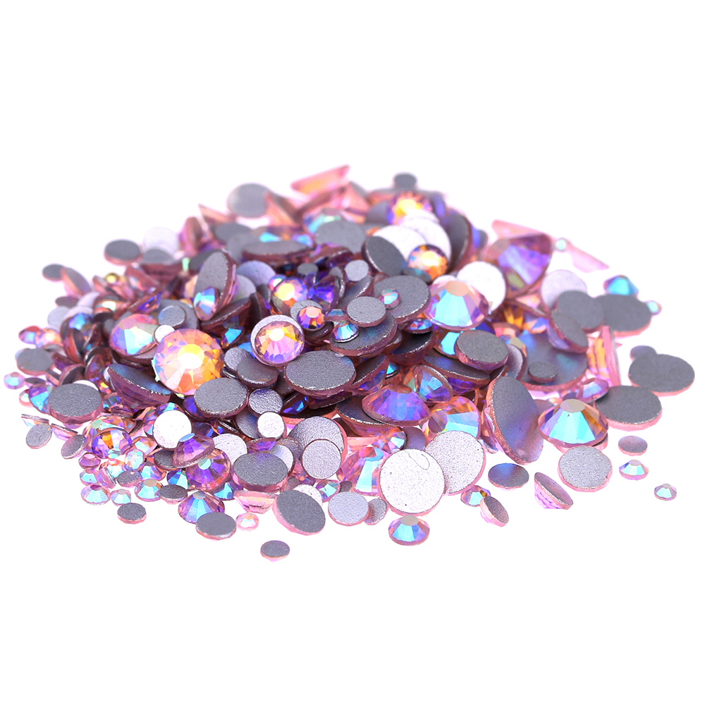 Light Rose AB Non Hotfix Crystal Rhinestones SS3-SS30 And Mixed Sizes Glue On Strass Diamonds DIY Jewelry Nails Art Decorations glass gems crystal rhinestones for nails ss3 ss30 and mixed light rose ab strass nail art jewelry design glitter decoration