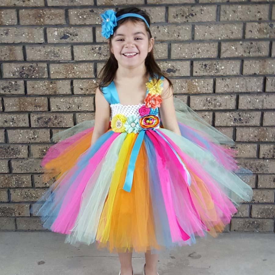 Bright Color Candy Tutu Klänning med Headband Påsk Spring Summer - Barnkläder