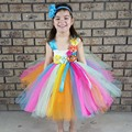 Bright Color Candy Tutu Dress with Headband Easter Spring Summer Girls Dress Kids Photography Prop Clothing TS097