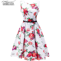 2017 Fashion New Women Dresses Printing Sleeveless Summer Dress Casual O Neck Sashes Women Ball Gown