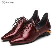 5e7d845204 Stylesowner 2018 New Coming Laces Women Casual Shoes Genuine Leather Heels  ShoeLaces Rivets Sexy Pointed Toe