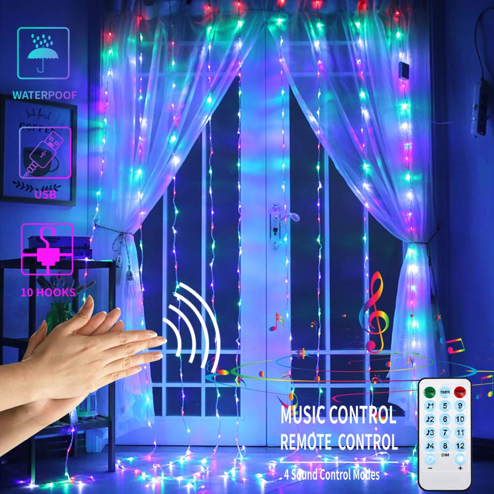 LED Curtain Lights With Voice Activated USB Powered 300 LED Fairy String Lights For Chrismas/Bedroom/Parties,4 Sound Control &