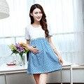 Maternity summer fashion lace denim dresses Korean fashion wave point denim women pregnant dress maternity clothes