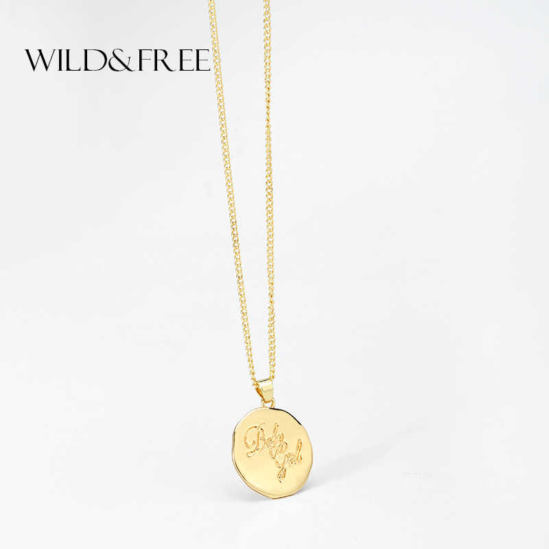 Wild&Free New Design Carved Coin Necklace & Pendant Zinc Alloy Gold Color Round Letter Necklace For Women Girl Fashion Jewelry