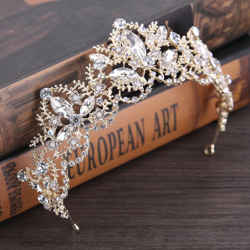 New Fashion Baroque Luxury Crystal AB Bridal Crown Tiaras Light Gold Diadem Tiaras for Women Bride Wedding Hair Accessories 6
