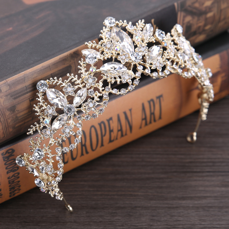 New Fashion Baroque Luxury Crystal AB Bridal Crown Tiaras Light Gold Diadem Tiaras for Women Bride Wedding Hair Accessories 6