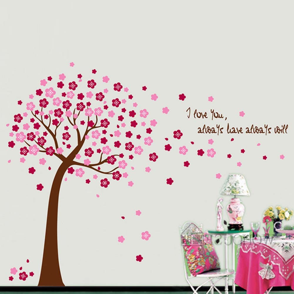 Pink Cherry Blossoms Tree Wall Stickers Art Decals Mural Wallpaper