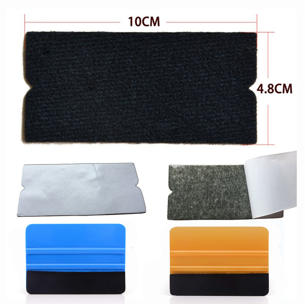 EHDIS 10Pcs/set Vinyl Film Car Wrap Felt Fabric For 10cm Squeegee Auto Window Tint Tool Clean Scraper No Scratch Felt Cloth Edge