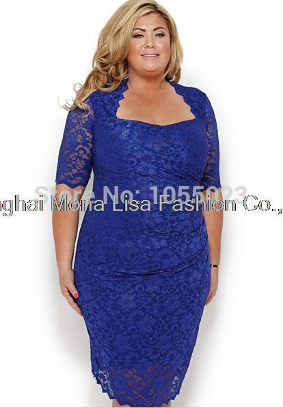Design Blue Plus Size Mother Of The Bride Dresses Lace Short Sleeves
