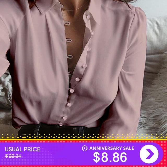 d0db7c84 2019 Fashion ZANZEA Autumn Casual Long Sleeve Loose Party Blouse Women  Elegant Solid Lapel Baggy Work Office Button Down Shirts