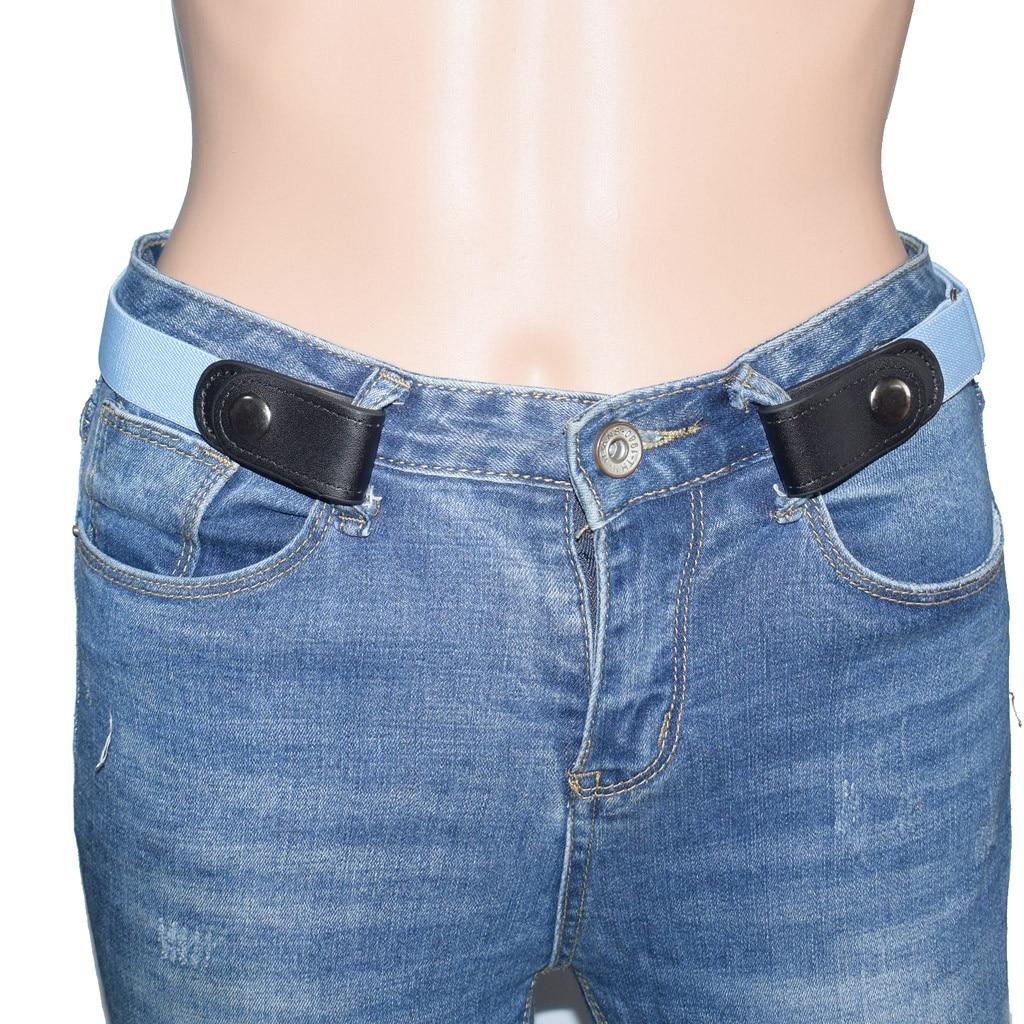 jeans womens punk style buckle-free belt dress ladies slim sports trend casual comfortable elastic new no buckle belt