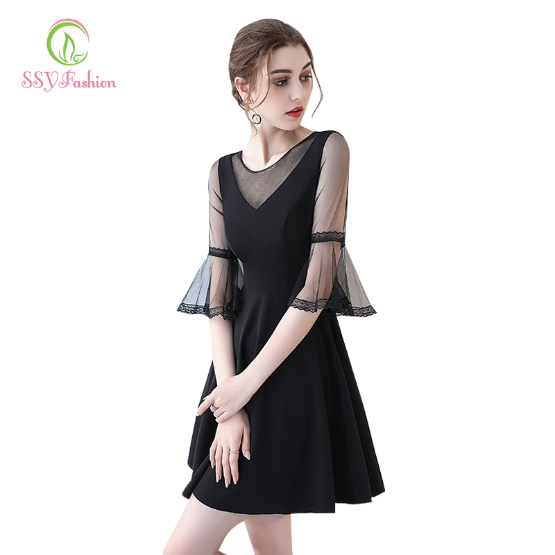 Simple Sexy Black   Cocktail     Dress   2018 SSYFashion V-neck Horn Sleeve Party Formal   Dress   Custom Homecoming   Dresses   Robe De Soiree