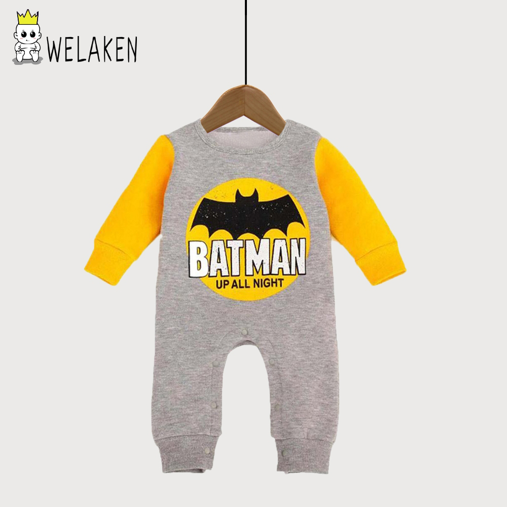 weLaken Spring Newborn Clothes Winter Long Sleeve Batman Baby Rompers Thicken Baby Wear Cotton Romper For Toddler Baby Clothing warm thicken baby rompers winter long sleeve organic cotton autumn