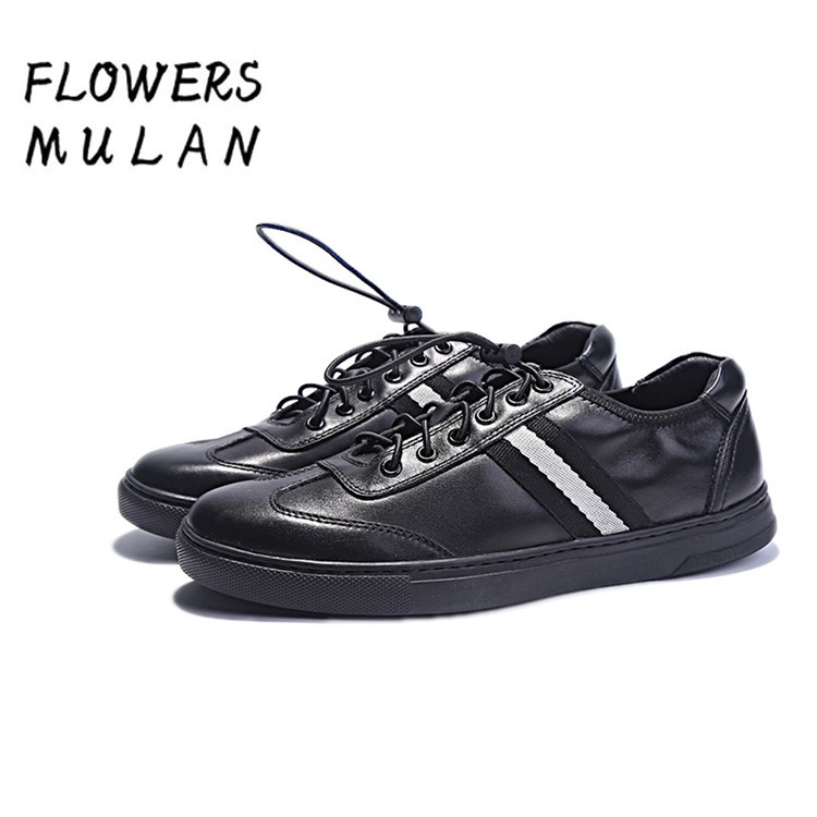 Black Genuine Leather Men Casual Shoes Round Toe Rubber Heel Flat Shoes Lace Up Mixed Color Footwear Man Sneakers Handmade Shoes