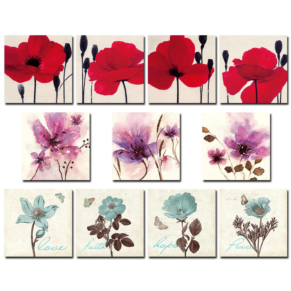 1* Modern Chinese Living Room Decorative Painting Flower Print Without Frame Creative Gift Home Decoration Painting