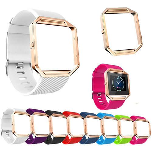 Soft Silicone Watch Band Replace Sport Strap with Rose Gold Frame for Fitbit Blaze fohuas for fitbit blaze bands soft silicone replacement sport strap band for fitbit blaze smart fitness watch no frame page 1