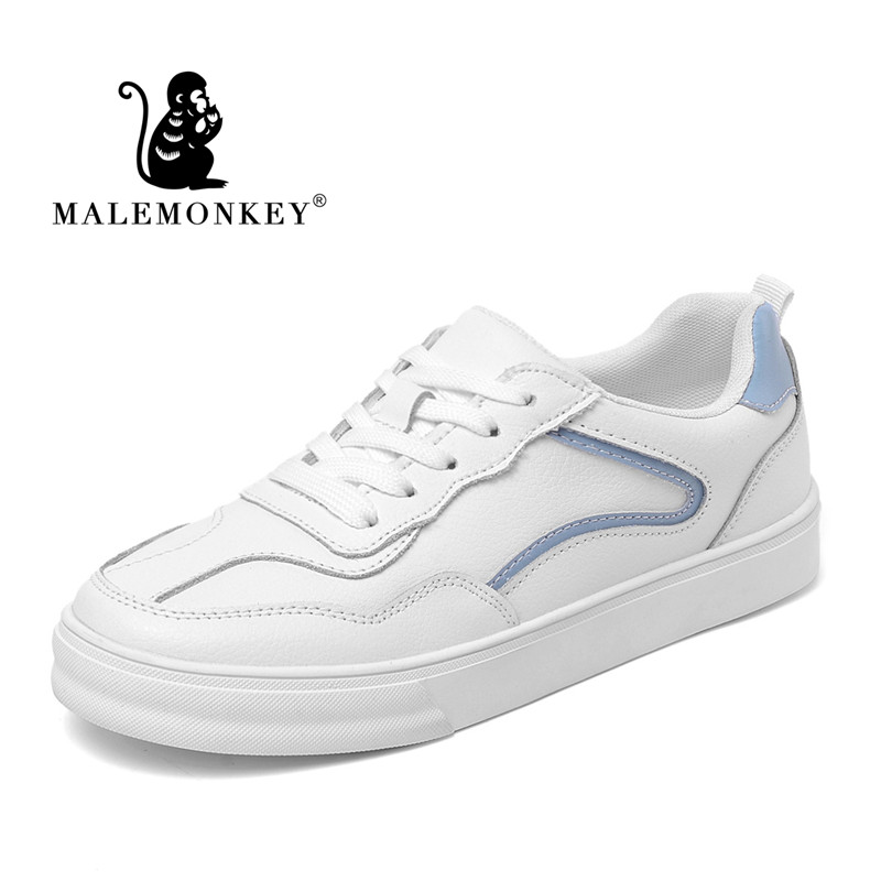 912103 New Women Sport Sneakers Genuine Leather Non-Slip And Wearproof Ladies Walk Casual White Shoes Comfortable Flat Bottom