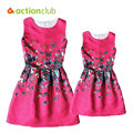 Actionclub 2016 Mother Daughter Dresses Family Matching Clothing Girls Dress Sleeveless Formal Print A-line Dress For Summer Kid