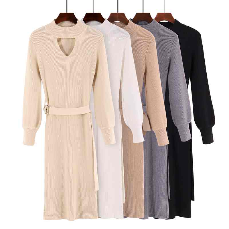 Long Women Pullover and Sweaters 2019 Autumn Winter Slim Halter Tops Elasticity Buckle Decorate Women Sweater Pull Femme Jumper