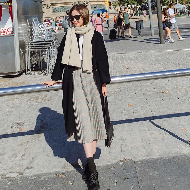 Laine Taille noir Et De Lady Dames down Manteau Poches bourgogne Turn Veste Solide Office D'hiver Manteaux Col Beige Long Large À IzCvW