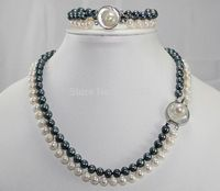 2Row Genuine Black and White 7 8MM Pearls Mother of Pearl Clasp Necklaces (17) Bracelets (7.5) Sets