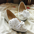 Rhinestone bride white wedding shoes different heel wedding shoes bow rhinestones bridal shoe