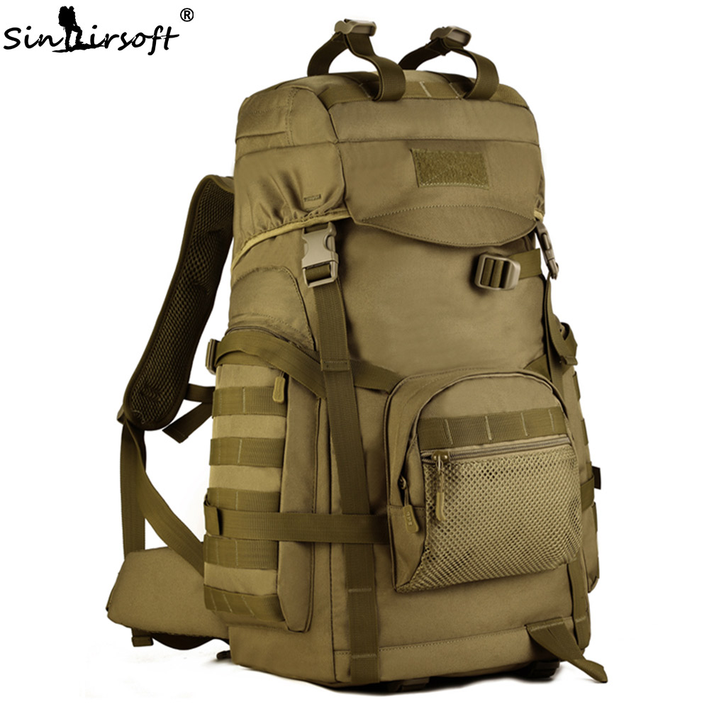 SINAIRSOFT 60L Molle High capacity Nylon Tactical Backpack Military Rucksacks Camouflage Camping Hunting Sport Bag LY2023