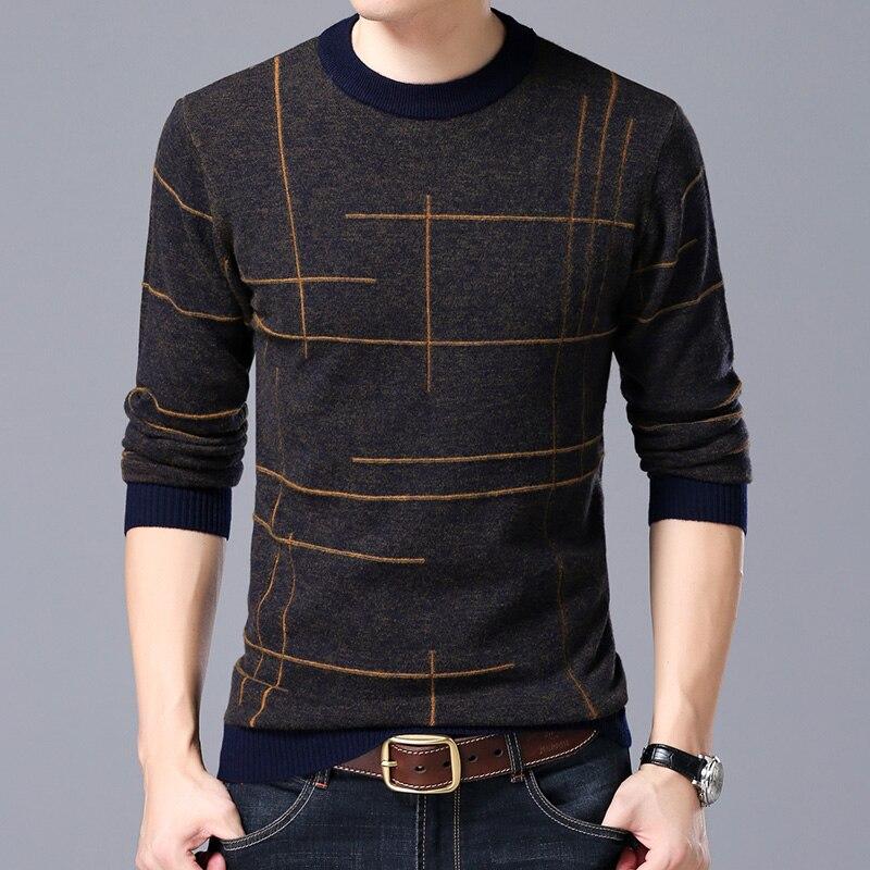 TS marque hiver col rond rayé chandail mâle chandail mâle de mode épaissie chandail occasionnel hommes de tricot chemise marée
