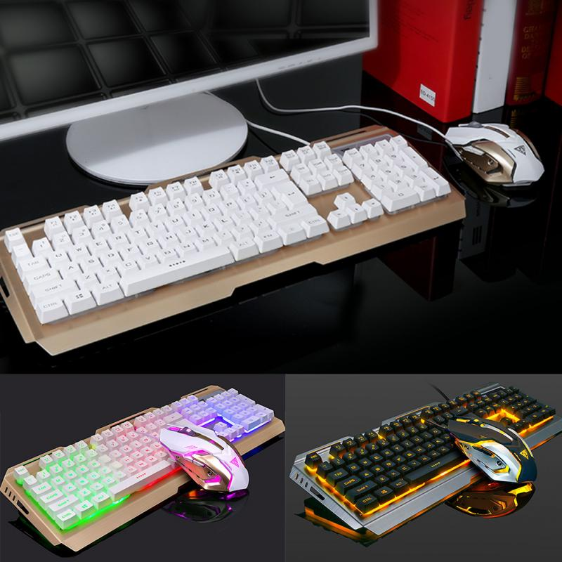 V1 Suspended Keycap USB Wired Ergonomic Backlit Gaming Keyboard and Mouse Set ,Mechanical Feel,Aluminium Alloy Panel