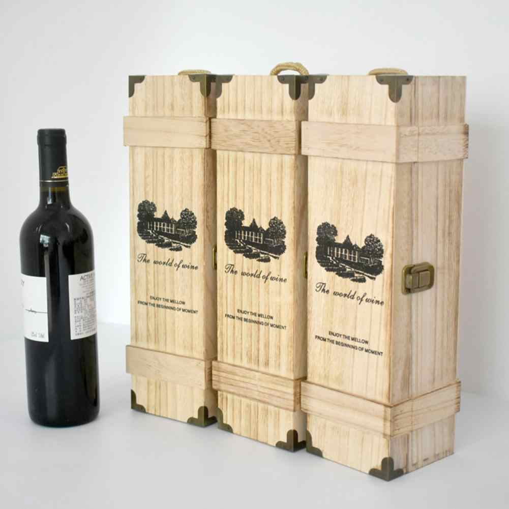 High Quality Wood Red Wine Carrier Gift Packing Box Pine Wood Wooden Wine Storage Gift Box For Single Bottle