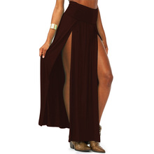 2017 Women Sexy Skirt High Waist Maxi Long Double Slit Skirt Lady Skinny Open Two Side Split Cropped Maxi Skirt 4 Colors U2