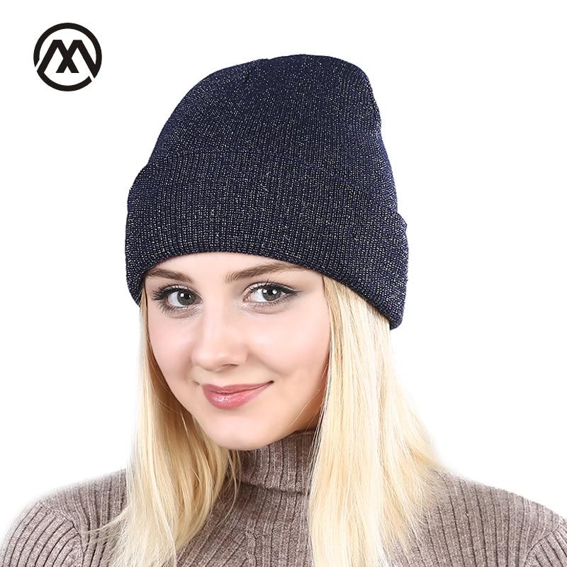 Ny glans guld silver hatt Höst Vinter turban mössa mössa för varma kvinnor Casual stickad hatt Kvinna Skullies Beanies Färgglada mössor
