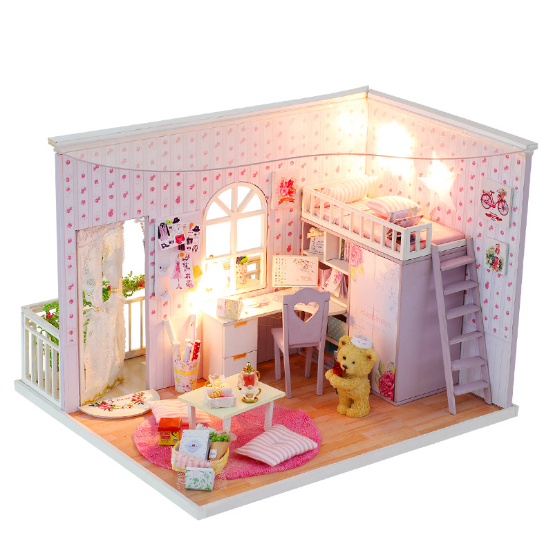 Творческий DIY кукольный домик с мебелью 3D деревянный ручной сборки Модель Кукольный дом подарок игрушки для детей лучшее время CF03 # E ...