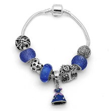 Friendship Bracelets for Women Luxury Brand Silver Dress Pendant Bracelets with European Beads Girl Bracelet Jewelry