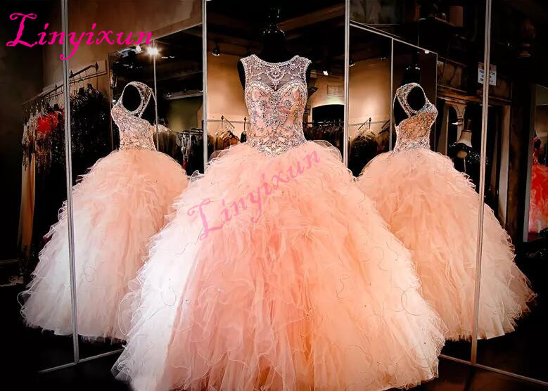 lush Ball Gown Quinceanera Dress High Neckline Keyhole Back Lace up Back Ruffled Organza Pageant Dress Sexy 16 Dresses