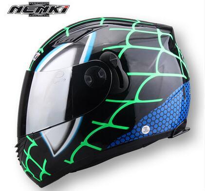 Doble Lente Casco NENKI830 Spiderman Casco de Moto Casco de Motocicleta de Cara Completa para Hombres