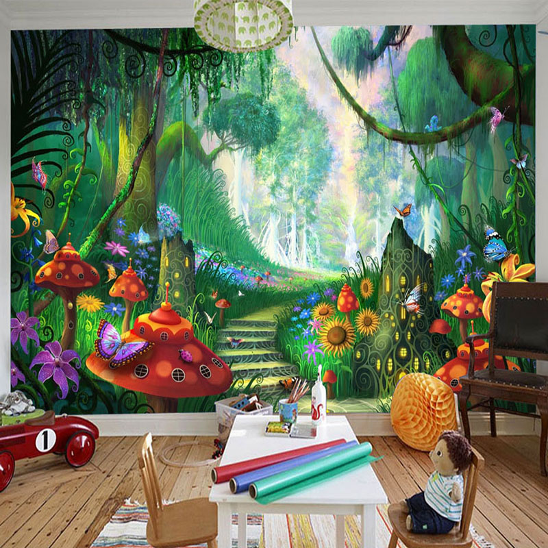 Custom 3D Photo Wallpaper Hand Painted Forest Mushroom Road Children Room Wall Decor Wallpapers For Living Room Wall Painting english wallpaper roll for baby room lovely hand painted wallpapers children wall paper mural non woven wallpapers for boy room